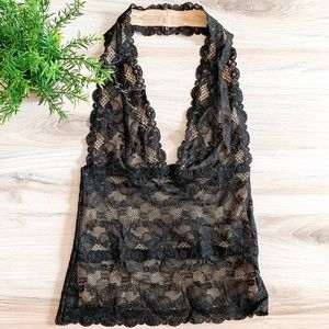 The Limited | Plunging Lace Halter Top